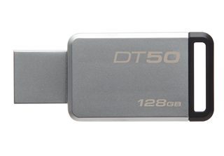 Kingston DataTraveler DT50 128GB USB-Minnen, USB 3.0, 110MBs/15MBs Read/Write, Metal housing